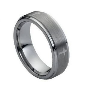 Men's 7mm Tungsten Carbide Wedding Band Ring with Cross Design