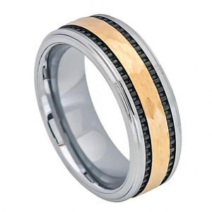 Men's Two Tone Gold Finish Tungsten Carbide Wedding Band with Groove Design