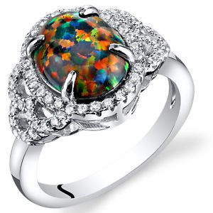 Women's Sterling Silver Oval Black Opal Halo Ring