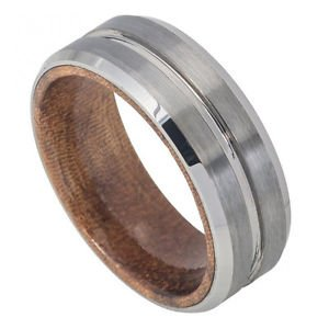 Men's Tungsten Carbide Grooved Wedding Band African Sapele Mahogany Wood Inlay