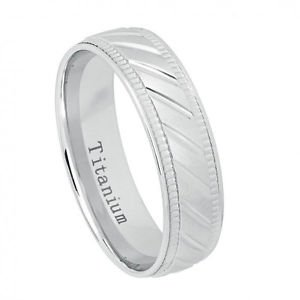 Men's White Titanium Wedding Band Ring with Grooved and Milgrain Finish