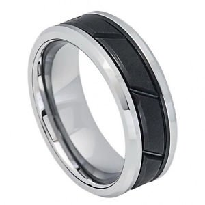 Men's Two Tone Black Tungsten Carbide Wedding Band with Diagonal Groove Design