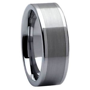 Men's 8mm Flat Tungsten Carbide Wedding Band Ring Satin Center Finish No Stone