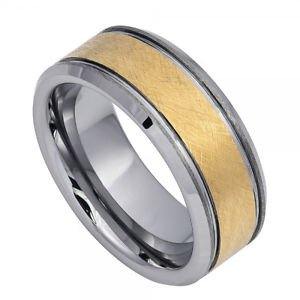 Men's Tungsten Carbide Wedding Band with Brushed Yellow Gold Finish