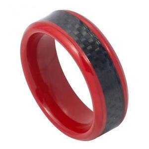 Men's Red Tungsten Carbide Wedding Band Ring Black Carbon Fiber Inlay