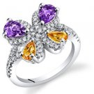 Women's Sterling Silver Amethyst and Citrine Butterfly Ring
