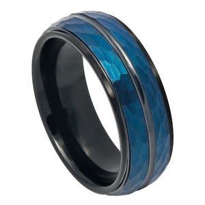 Mens Two Tone Blue and Black Tungsten Wedding Band Ring with Hammered Finish
