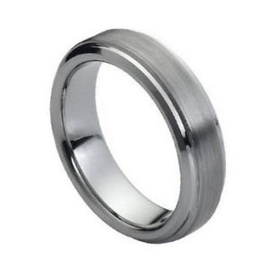 Men's 6mm Tungsten Wedding Band with Recessed Edges, and Satin Finish