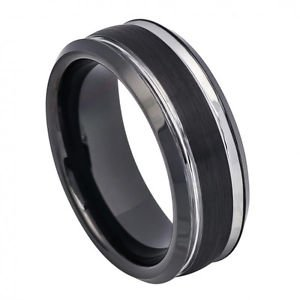 Men's 8mm Black Tungsten Carbide Wedding Band Ring Satin Finish and Polished Str