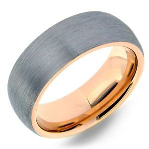 Men's Tungsten Carbide Wedding Band Ring Rose Gold Inside and Edges Comfort Fit
