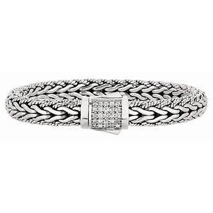 Phillip Gavriel Sterling Silver Woven White Sapphire Bracelet