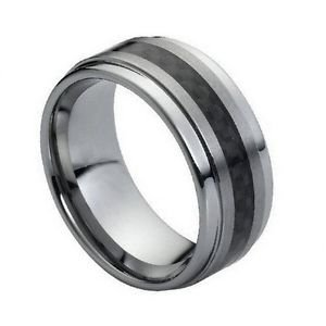 Tungsten Carbide 9mm Wedding Band Ring with Carbon Fiber Inlay and Step Down Edg