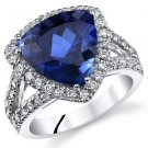 Sterling Silver Trillion Blue Sapphire and Halo Ring