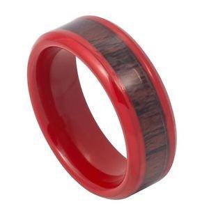 Men's Red Tungsten Carbide Wedding Band Ring Hawaiian Koa Wood Inlay