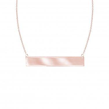 Women's 14k Rose Gold Horizontal Bar Pendant Necklace 18 Inch