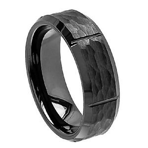 Men's Black Ceramic Wedding Band Ring Brushed Hammered Finish Vertical Grooves