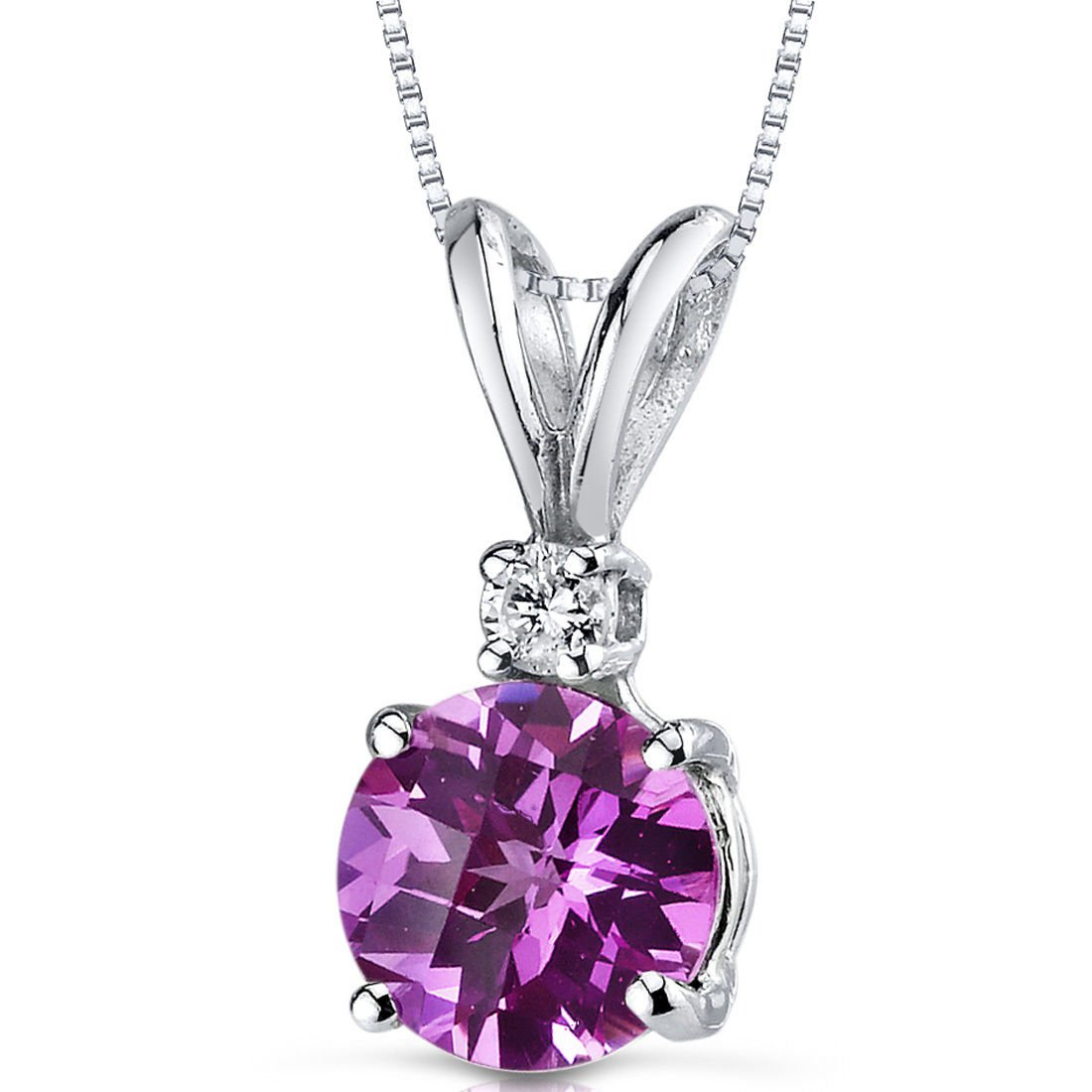 14k White Gold Round Pink Sapphire and Diamond Pendant Necklace
