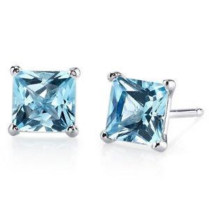 Women's 14k Gold Princess Cut Swiss Blue Topaz Stud Earrings