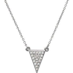 14 Karat Gold Diamond Triangle Pendant Necklace