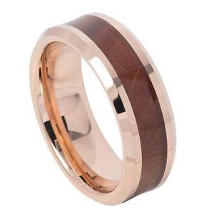 Men's Rose Gold  Tungsten Carbide Wedding Band Ring Hawaiian Koa Wood Inlay