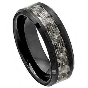 Men's Black Ceramic Wedding Band Ring Charcoal Gray Carbon Fiber Inlay