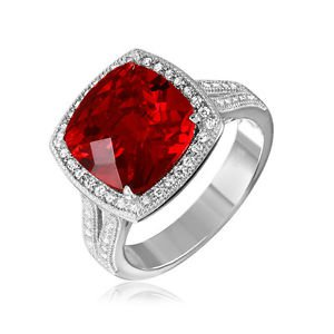 Women's Sterling Silver Cushion Halo Ruby Red Cubic Zirconia CZ Ring