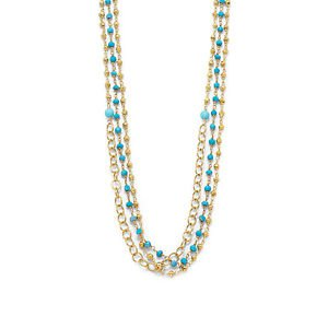 Sterling Silver Triple Strand Gold Tone Turquoise Multistone Necklace