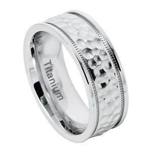 Men's White Titanium Wedding Band Ring with Hammered Center and Grooved Edges