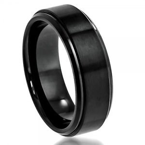 Men's 8.0mm Black Cobalt Wedding Band Ring with Brushed Finish and Step Down Edg