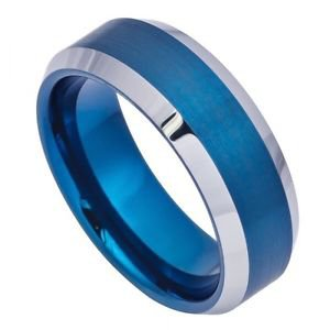 Blue Tungsten Carbide Wedding Band Ring Beveled Edge Design 8mm Width