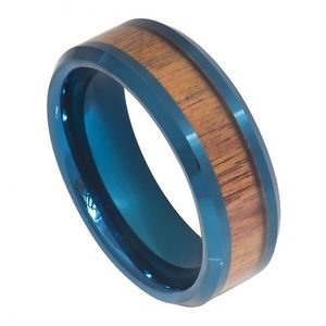Men's Prussian Blue Tungsten Carbide Wedding Band Ring Hawaiian Koa Wood Inlay