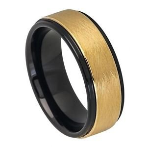 Men's 8mm Tungsten Wedding Band with Step Down Edges, Satin and Yellow Gold