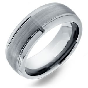 Men's Tungsten Carbide Domed Wedding Band with Grooved Design and Satin Finish