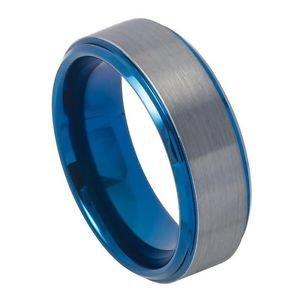 Men's Blue Tungsten Wedding Band Ring Satin Finish 8mm Comfort Fit