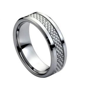 Men's Tungsten Carbide Wedding Band with Grey Carbon Fiber Inlay