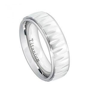 Men's White 7mm Titanium Wedding Band Ring with Alternating Notched Design