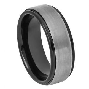Men's Black Tungsten Wedding Band Ring Satin Finish 8mm Comfort Fit