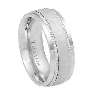 Men's White Titanium Wedding Band Ring with Satin finish and Step Down Edge