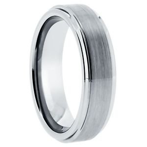 Men's Tungsten Carbide Wedding Band with Step Down Edges
