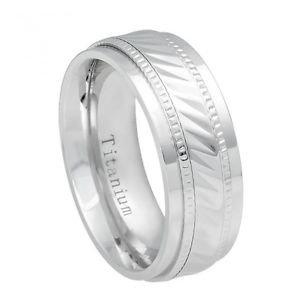 Men's White Titanium Wedding Band Ring Alternating Notched Design and Milgrain