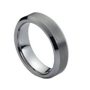 Tungsten Carbide Wedding Band Ring Beveled Edge Design 6mm Width