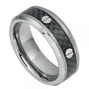 Men's Tungsten Carbide Wedding Band Ring Black Carbon Fiber Inlay and Srew Accen