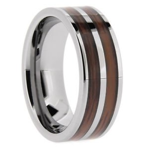 Men's Tungsten Carbide Flat Wedding Band with Double Wood Inlay