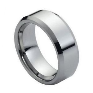 Tungsten Carbide Wedding Band Ring Polished Finish Beveled Edge Design 8mm Width