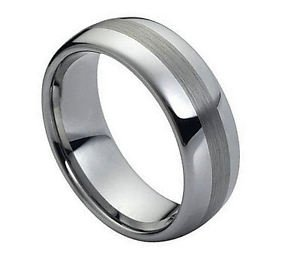 Men's Tungsten Carbide Wedding Band Dome High Polish Satin Finish Comfort fit