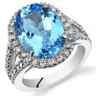 Sterling Silver Swiss Blue Topaz Oval Halo Ring with Split Band