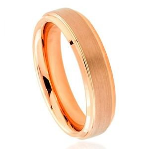 Tungsten Wedding Band with Recessed Edges, Satin and Rose Gold Finish