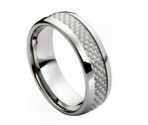 Men's Tungsten Carbide Wedding Band with Gray Carbon Fiber Inlay Comfort fit