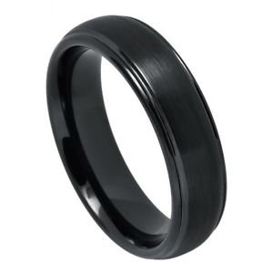 Men's Tungsten Ring Domed Wedding Band Grooved Edges Comfort Fit