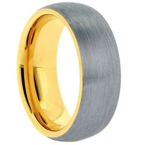 Men's Tungsten Carbide Wedding Band Ring Yellow Gold Inside Edges Comfort Fit